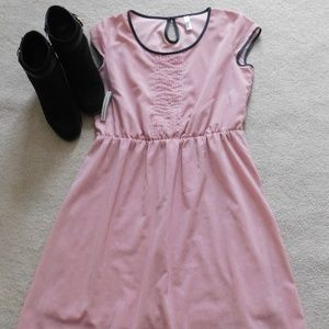 Pink and white pocadotted silk dress